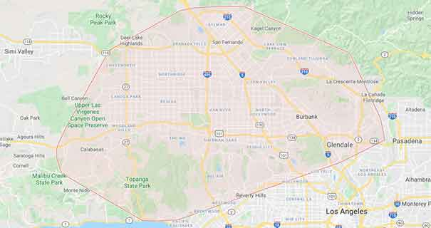map of the San Fernando Valley